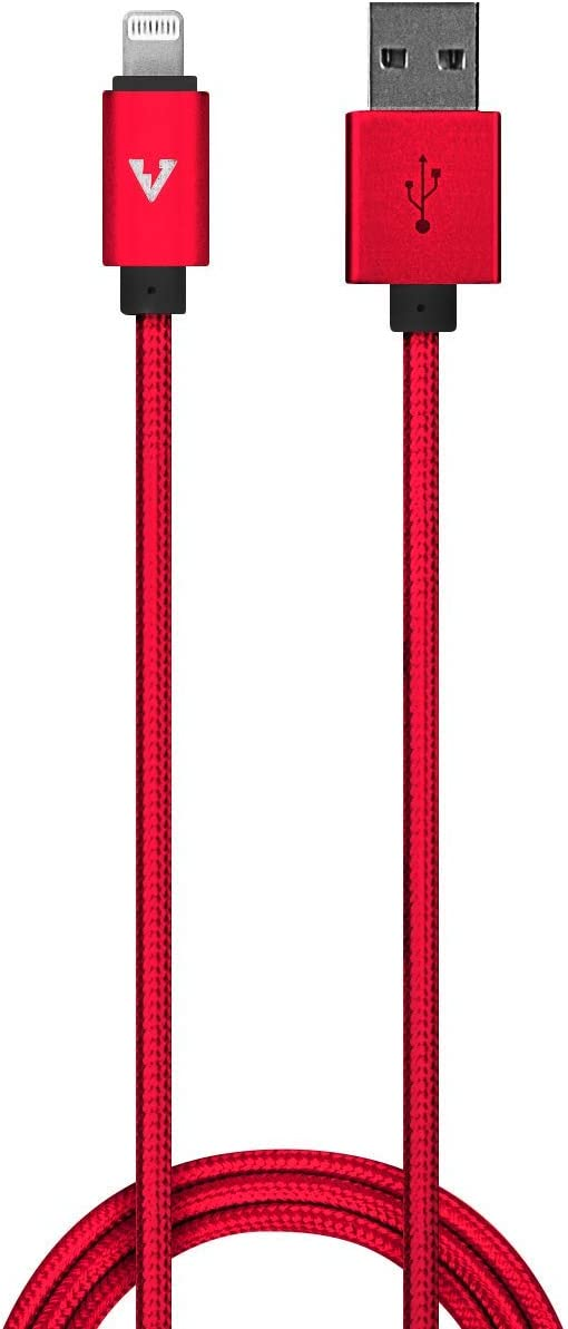 vCharged Red 2 FT MFi Certified iPhone Charger Nylon Braided USB Compatible w/AirPods, iPhone & iPad
