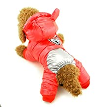 Ranphy Small Dog Snowsuit with Legs Fleece Lined Jacket Winter Jumpsuit Puppy Clothes Red S