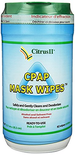 Citrus II Cpap Mask Wipes 62 Count Canister + 12 Individually Wrapped Travel Wipes