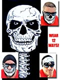 12-in-1 Headband - Versatile SKULL Sports & Casual Headwear - Wear as a Bandana, Neck Gaiter, Balaclava, Helmet Liner, Mask, Halloween & More. High Performance Microfiber