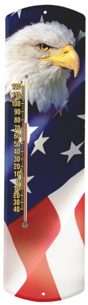Heritage America by MORCO 375BE-FLAG Bald Eagle with Flag Outdoor or Indoor Thermometer, 20-Inch by Heritage America by MORCO (Image #1)