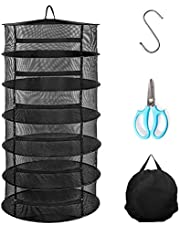 Herb Drying Rack, 6 Layer 2ft Hanging Rack Net Dryer for Hydroponic Plant and Herb Seeds, Include 1pc Garden Shearing, 1pc S Hang Buckle and 1pc Storage Bag