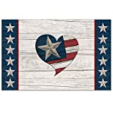 CounterArt 24-Pack Disposable Paper Placemats, Faith Freedom-Flag and Heart