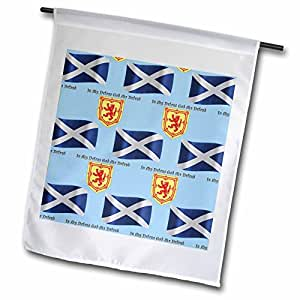 777images Flags and Maps - Europe - Scotland flag, coat of arms and motto pattern on light blue background - 18 x 27 inch Garden Flag (fl_165747_2)