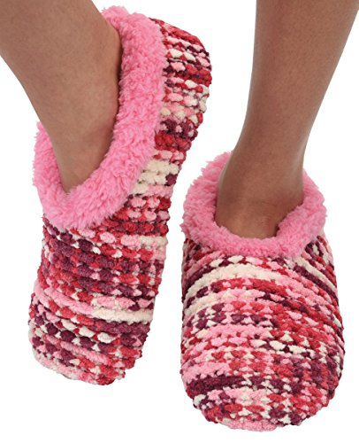 Snoozies Womens Chenille Knit Cozy Sherpa Fleece Non Skid Slipper Socks - Pink, Large