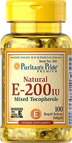 200 Iu Natural - Puritan's Pride Vitamin E-200 iu Mixed Tocopherols Natural-100 Softgels