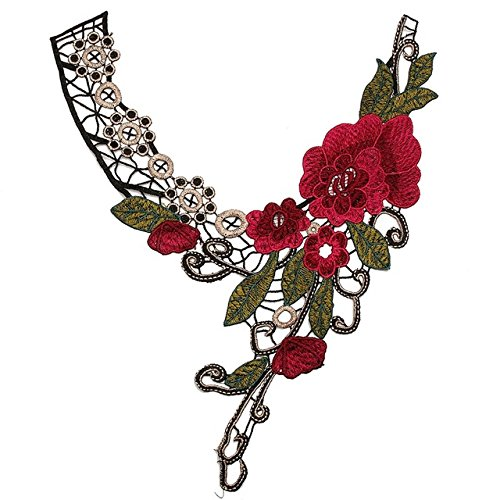 Neckline Petal (Collar Flower Applique - 1 Piece 3D Flower Floral Collar Lace Trim Embroidered Neck Applique Sewing Craft Classic Embroidery Collar Fake Neckline Gifts)