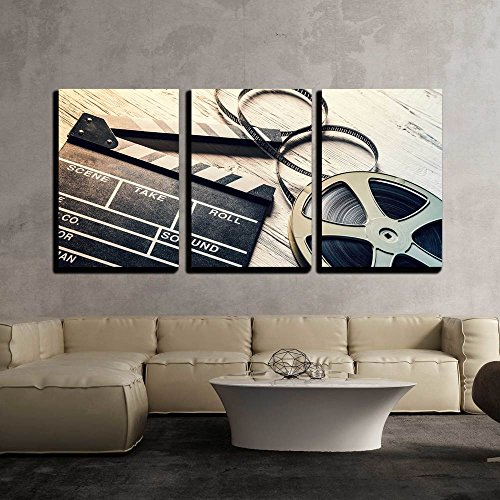 wall26 - 3 Piece Canvas Wall Art - Film Camera Chalkboard and Roll on Wooden Table - Modern Home Decor Stretched and Framed Ready to Hang - 24