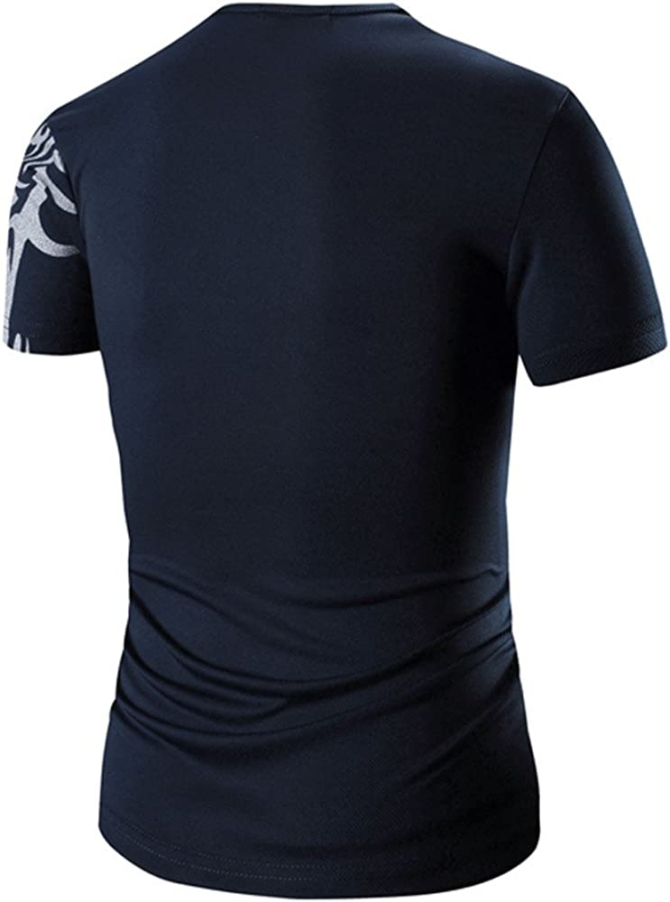 T Shirts for Men Fashion Print Tees Short Sleeve Crew Neck Polo Shirts Pullover Summer Slim Fit Tops