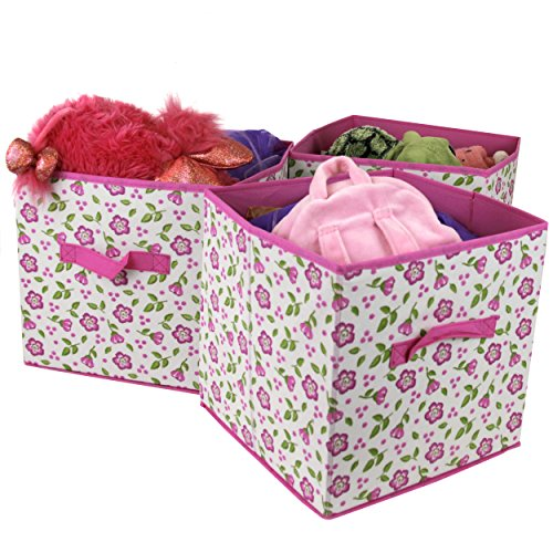 Paylak Set of 3- Storage Bins Organizer Cubes Cute Floral Fabric Box - Floral Cube