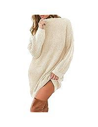 Womens Round Neck Knit Stretchable Elasticity Long Sleeve Slim Fit Sweater Dress KIKOY