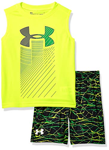 Under Armour Boys' Little UA Muscle Tank and Short Set, Hi Gh/Vis Yello-S19, 5