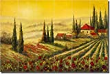 "A New Day by C. H. Ching - Tuscan Landscape Ceramic Tile Mural 24"" x 36"" Kitchen Shower Backsplash"