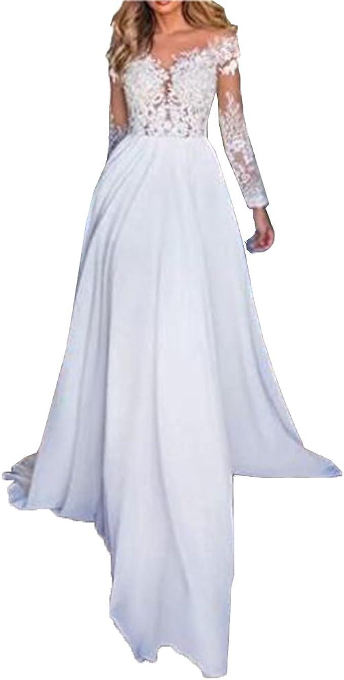 Nanger Damen Chiffon Spitze Hochzeitskleider Standesamt Lang Ärmel