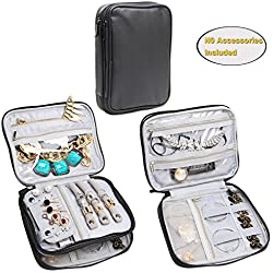 Teamoy Double Layer Jewelry Organizer Case, Travel Carry Bag for Earrings, Rings, Necklaces, Chains, Compact and All in One Place, Easy to Carry, Black