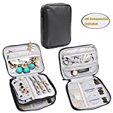jewelry bag organizer - Teamoy Double Layer Jewelry Organizer Case, Travel Carry Bag for Earrings, Rings, Necklaces, Chains, Compact and All in One Place, Easy to Carry, Black