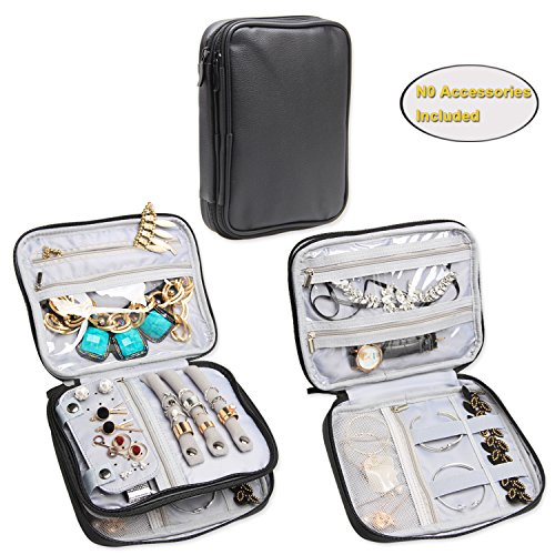 Teamoy Double Layer Jewelry Organizer Case, Travel Carry Bag for Earrings, Rings, Necklaces, Chains, Compact and All in One Place, Easy to Carry, Black (Double Watch Case)