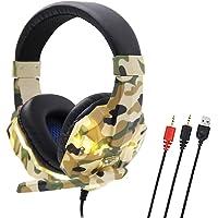 Domary SY830MV Gaming Headset 3,5 mm com fio sobre a orelha Fone de ouvido com cancelamento de ruído E-Sport com…