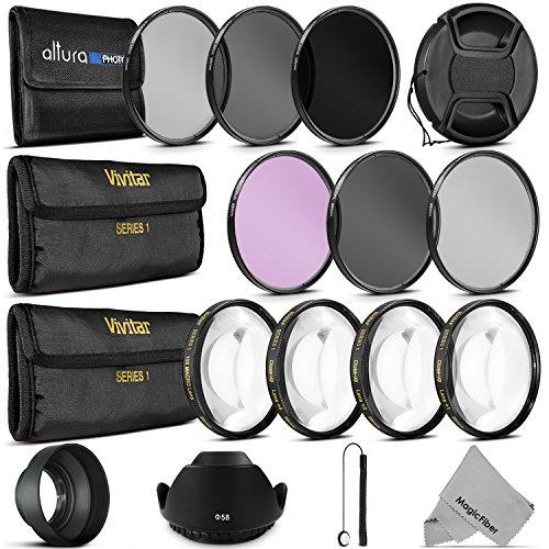 Vivitar 58MM Lens Filter Accessory Kit for Canon EOS Rebel T5i T4i T3i T3 T2i T1i DSLR Camera (9 Items)