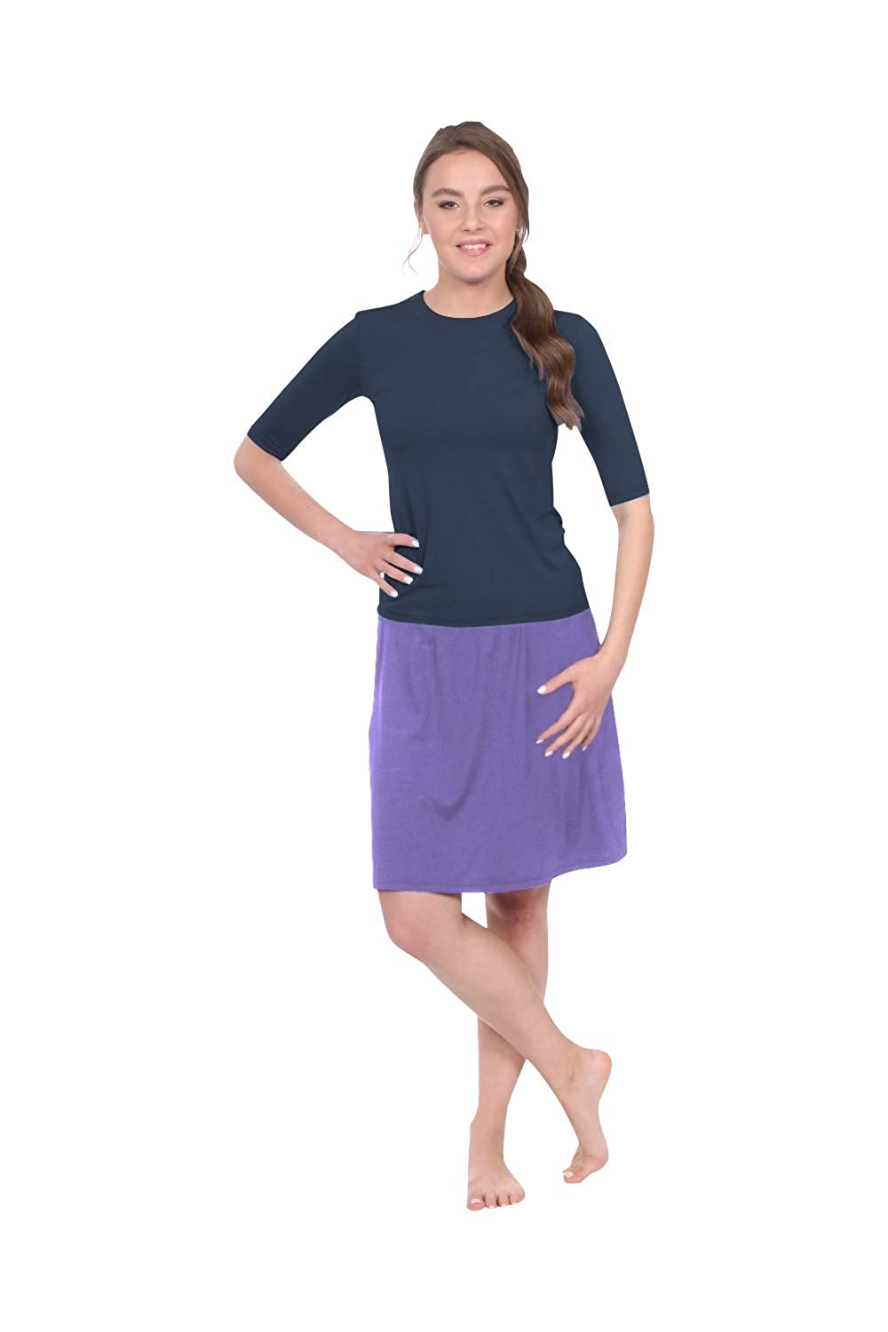 Amethyst Kosher Casual Women's to The Knee Length Running Skirt with Built in Shorts