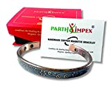 Parth IMPEX Pure Copper Magnetic Bracelet for Men Women Antique Finish Rustic Flower Design Arthritis Joint Pain Relief Carpal Tunnel RSI Treatment Healing 6 Earth Magnet Therapy Elegant Bangle