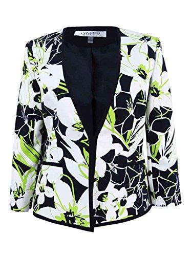 Kasper Womens Floral Print Contrast Trim Open-Front Blazer