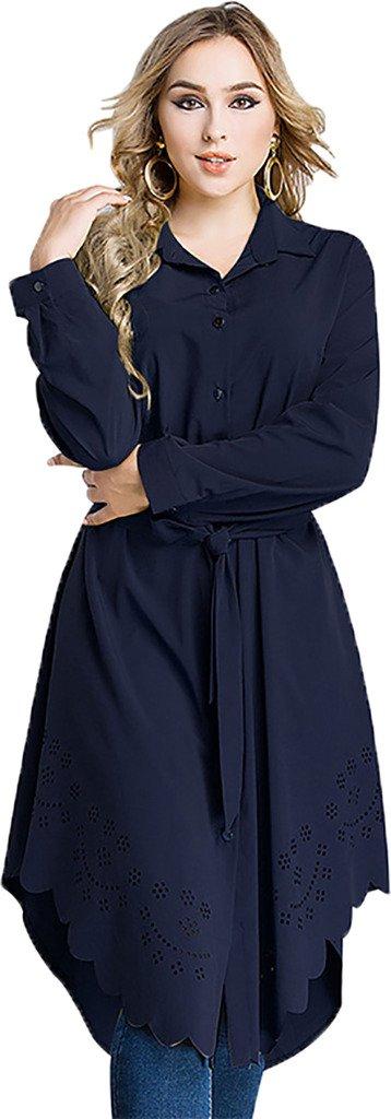 Ababalaya Women's Casual Long Sleeve Muslim Kaftan Malaysian Long Blouse with Sash M-6XL,Navy,Tag Size L = US Size 8-10