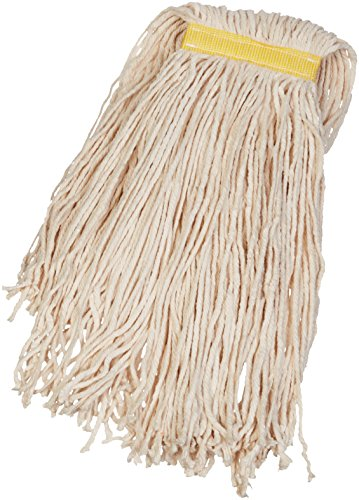 AmazonBasics Cut-End Cotton Commercial String Mop Head, 1.25 Inch Headband, Large, White, 6-Pack