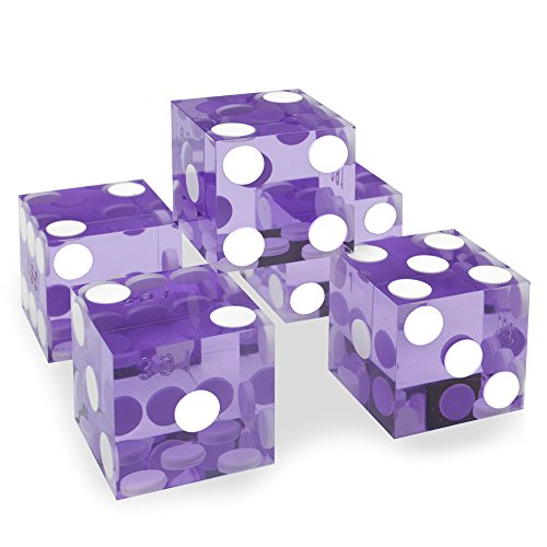 Edge Dice - Set of 5 Grade AAA 19mm Casino Dice with Razor Edges and Matching Serial Numbers by Brybelly (Violet)
