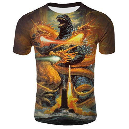 - Godzilla KingGhidorah Art Youth Girls 3D Printed Short Sleeves T Shirt