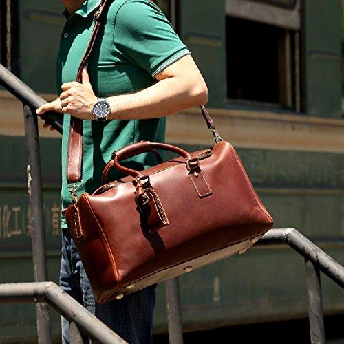 StarHide® Hommes En Cuir Véritable Tenir Tous Les Bagages Sac à Dos, Nuit, Week-end Et Voyage Duffle (Marron) Brown