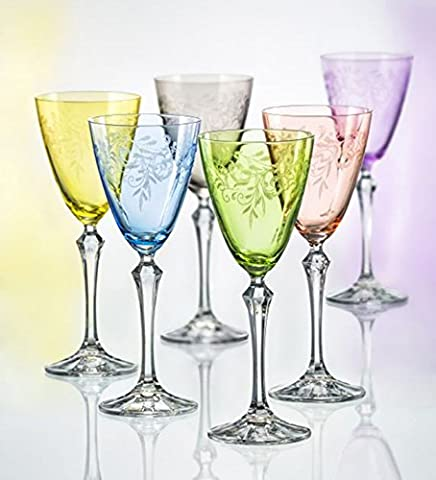 Set of 6, Bohemia Crystal Etched and Colored Wine Glasses, 8.5 ounces, Multicolor - Floral Etched Crystal