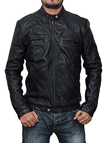 Brooklyn Wear 17 Again Mens Black Leather Jacket - Mens Travel Genuine Leather Shining Front Jacket | XL