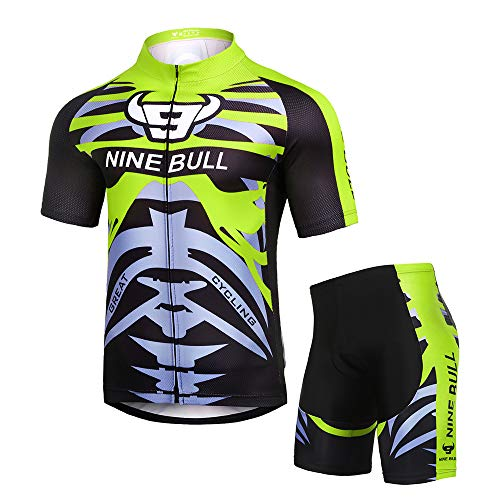 Men's Short Sleeve Cycling Jersey Set - Reflective Quick-Dry Breathable Biking Shirt and 3D Padded Cycling Bike Shorts