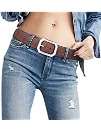"""Reversible Leather Belts for Women with 1.25"""" Wide Solid Brown Western Waist Sash Waistband Men Silver belt Buckle"""