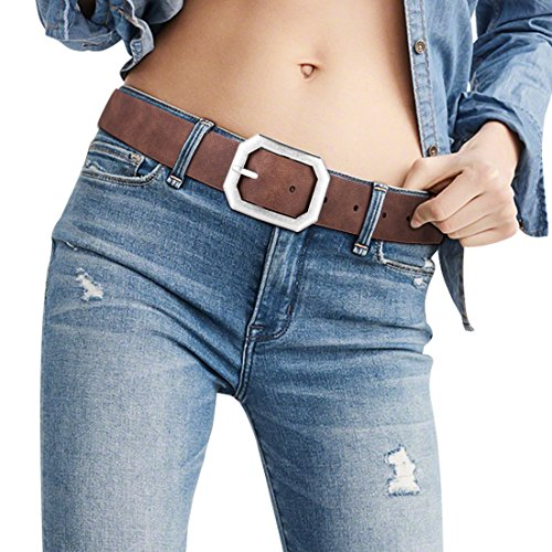 Female Leather Womans Designer Formal Belt Reversible Dark Brown Vintage Denim High Waisted Folded Hem Jeans Belt with Worn Silver No Nickel Alloy Buckle(M) (Denim Leather Belt)