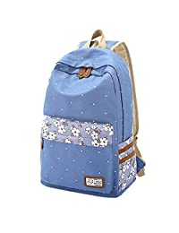 Artone Lightweight Canvas Floral Printed Casual Daypack College Backpack Blue
