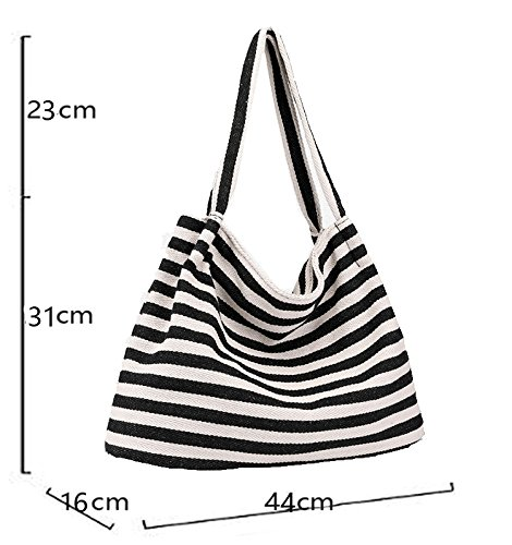 Handbag Shoulder Bag Canvas Defeng b047 Black Totes Handle Pouch Bag Top Hobos Bags Beach wRXv5qv6