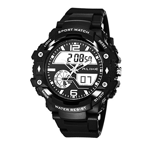 Alike AK15117 New Arrival High Quality Unisex Luxury Fashion Sport Watch Dual Time Shows Multi Function Quartz Digital Alarm Timer Black Rubber Strap Waterproof Wristwatches (black)