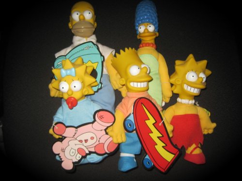 COMPLETE SET Vintage The Simpsons Family Doll Lot Burger King Toy 1990 Homer Marge - Toy 1990's