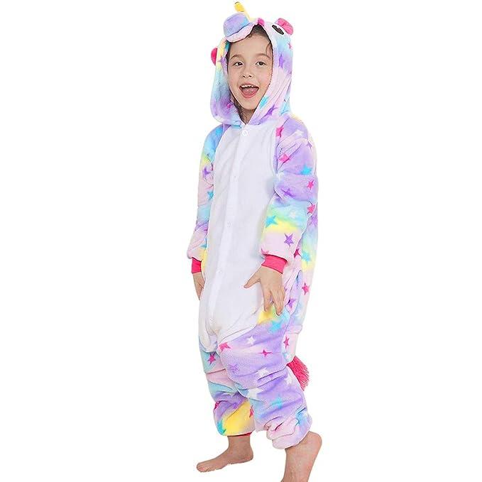 358988a666 Yansion Bambini Unicorno Pigiama delle Onesie,Costumi Cosplay Felpa con  Cappuccio Sleepwear Flanella Unicorno Nightwear Cartoon Fancy Dress Up per  Bambini ...