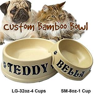 Jeyfel Decals Custom Pet Bowl Name. Natural Bamboo Fiber Dog Cat Pet Bowl. (4 Cups-32oz)