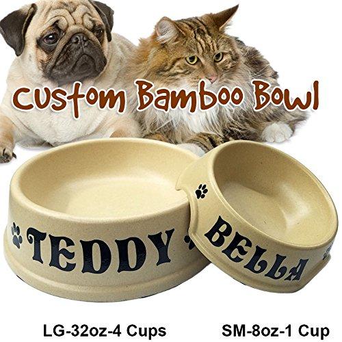 Jeyfel Decals: Custom Pet Bowl Name. Natural Bamboo Fiber Dog Cat Pet Bowl. (1 Cup-8oz)