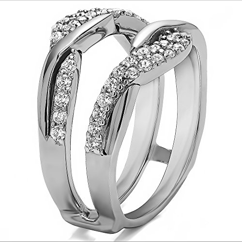 TwoBirch 0.54CT C&C Moissanite Bypass Wedding Ring Guard Enhncer in 10k White Gold (1/2CT)(Size 3 15, 1/4 Sizes)