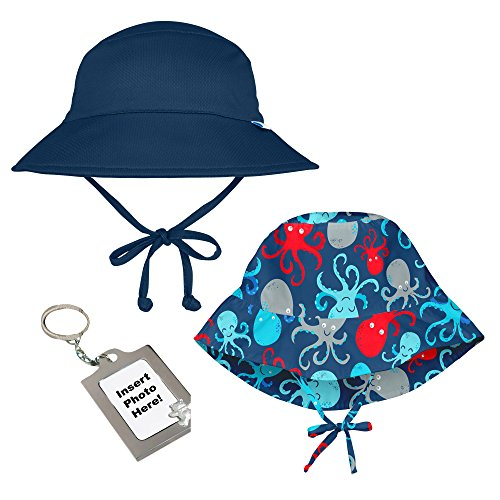 i play Baby Boys 2 Pack Breathable and Adjustable Bucket Sun Protection Hats with Chin Strap UPF 50+ Navy Blue and Aqua Octopus 0-6 Mth and Photo Keychain