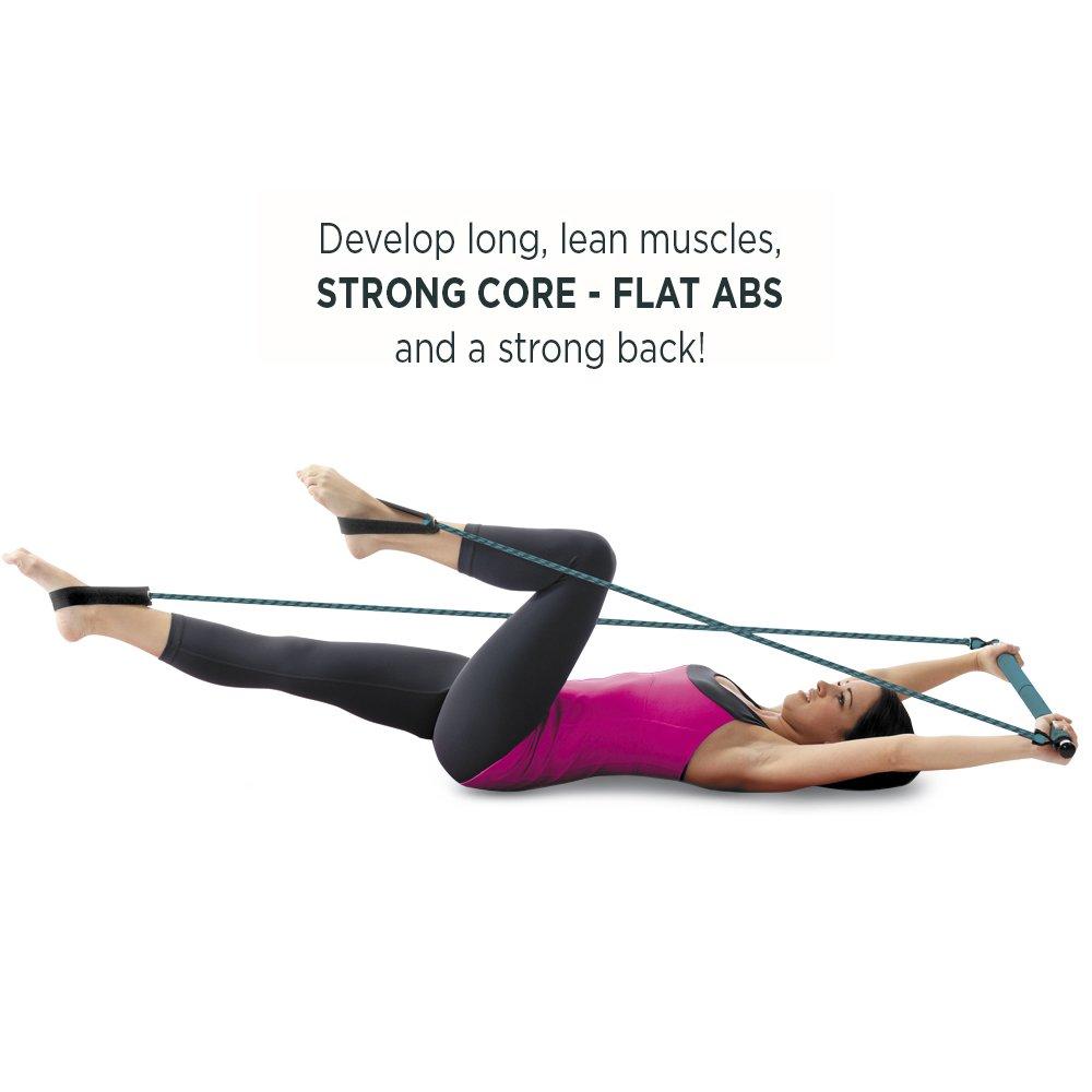 Exercise Bands Bar: Lotus Portable Pilates Studio Exercise Chart
