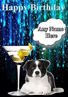 Happy Birthday Border Collie cane cucciolo di CODE10cocktail vetro personalizzato di