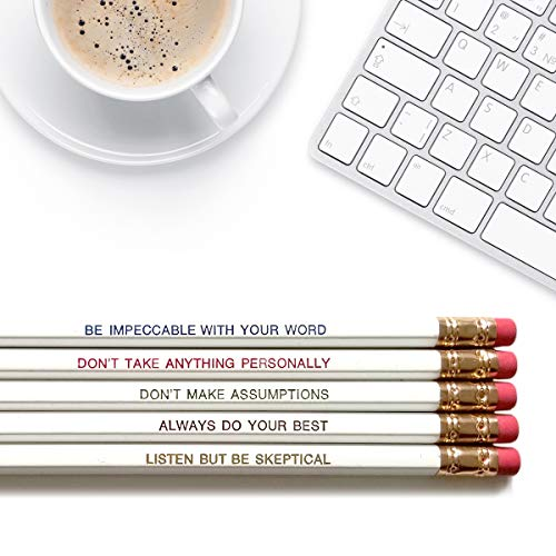 The Four Agreements Plus one - Inspirational Pencils Engraved With Funny And Motivational Sayings For School And The -