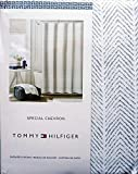 Tommy Hilfiger Fabric Shower Curtain Gray Herringbone Pattern -- Special Chevron