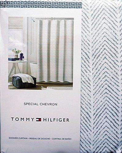 Tommy Hilfiger Fabric Shower Curtain Gray Herringbone Pattern -- Special Chevron